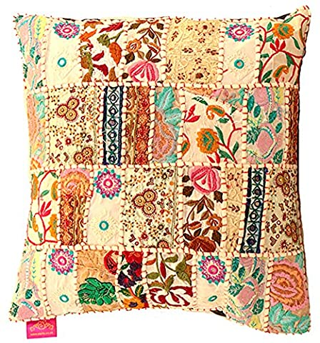 Stylla London Indian Handmade Vintage Embroidery Sari Patchwork Cushion Cover Decorative Pillow Cover (White)