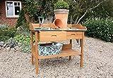 Pflanztisch Akazie Natur, Gärtnertisch aus Akazienholz mit Zinkplatte