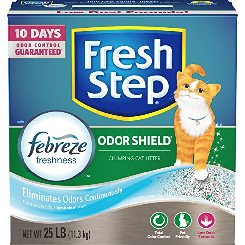 Fresh Step Odor Shield with Febreze Freshness, Clumping Cat Litter, Scented, 25 Pounds