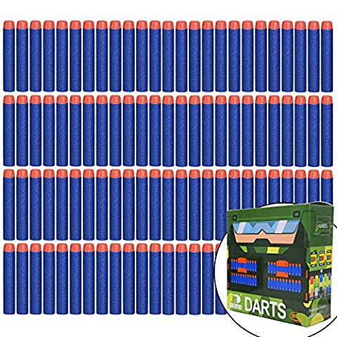 EKIND 100 Pcs 7.2cm Foam Darts for Nerf N-strike Elite Series Blasters Toy Gun(Blue)