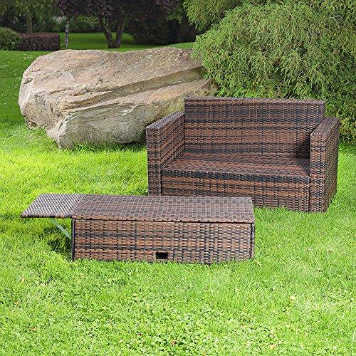 Gartenmöbel Lounge Sofa mit klappbarer Bank / Tisch in braun aus Polyrattan - 3