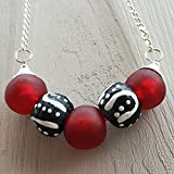 Best Aunt And Niece Necklaces - Colourful red and black bead silver plated chain Review