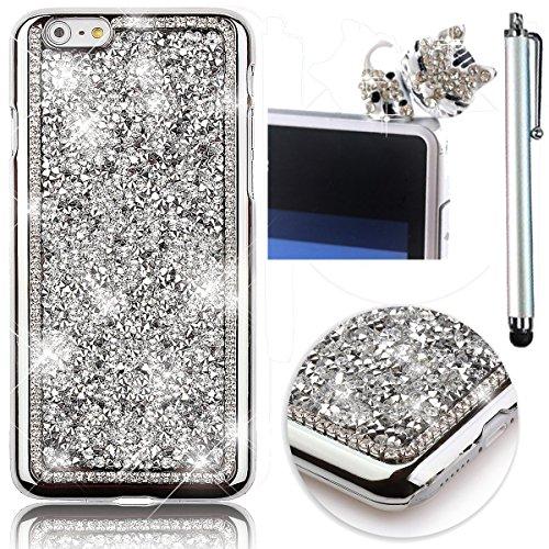 Sunroyal® Creativa 3D Dura Sparkly Glitter Bling Cristal Brillantini Diamanti Rhinestones Nero Protettivo Back Custodia Case per Apple iPhone 6 / 6S 4.7 pollici , Lusso Strass Shiny Protettiva Cassa d Modello 06