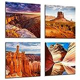 gs012WOYW gerahmt Leinwand Drucke–ein modernes Abstraktes Wandbild Foto Bild Scenic –-Set, 4-teilig–Grand Canyon –, Wohnzimmer, die Welle Monument Valley, USA Amerika Bryce Nationalpark & Zuhause, canvas, 20cmx20cm x4
