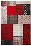 Carpeto Large Flat Woven Rug Vintage Patchwork Red Carpet 5