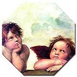 Bilderdepot24 Kunstdruck - Alte Meister - Raffael - Engel - Detail Sixtinische Madonna - Achteck 50x50 cm - Leinwandbilder - Bilder als Leinwanddruck - Bild auf Leinwand - Wandbild