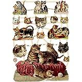 Creativ 16.5 x 23.5 cm Cats Paper Vintage Die-Cuts 3 Sheet, Multi-Color