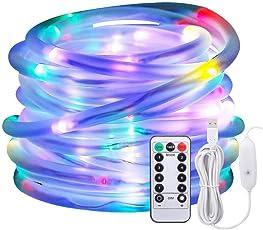 LED Lichtschlauch als Weihnachtsdeko–Afufu 10M 136er Lichterschlauch Bunt Mehrfarbig–Lichterkette Innen und Außen–Lichterkette USB–Wasserdicht IP65–3M Stromkabel–8 Modi Fernbedienbar Lichterketten Weihnachtsbeleuchtung