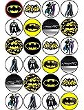 Kuchendekoration, Batman-Motiv, essbar, Esspapier, 40 mm, nicht geschnitten, 24-teilig