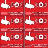 Aufkleber Alarmgesichert - Alarmanlage 6-Set 52x35mm - Rechteckig - rot