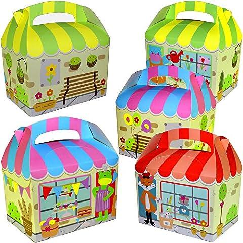 German Trendseller® - 8 x boîtes en carton avec épiceri d'animaux┃ Party Box ┃avec poignée ┃pour remplir┃ pochette surprise┃l'anniversaire