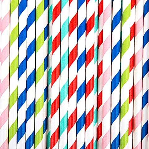 Rétro Couleur rayé pailles papier jetables–solide 50