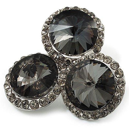 """Aschgraue \""""Kreis\"""" Jugendstil-Brosche mit Strass im Diamant-Design (Silberfarben)"""