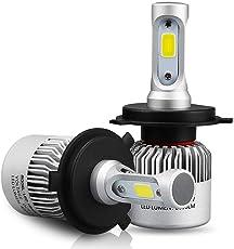Cloudsale H4 COB ROHS Certified 72W 8000LM 6500K 32V LED Car Hi-Lo Beam Headlight Bulbs (White)