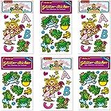 6-teiliges Glitter-Sticker-Set * EINSCHULUNG und FROSCHKÖNIG * vom Mauder Verlag | Kinder Aufkleber Kindergeburtstag Geburtstag Mitgebsel Geschenk Mädchen Glitzer Prinzessin Miabella Frosch Krone