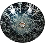 Cuarto de baño moderno plata Descripción lavabo de vidrio pintado a mano, (F420 * H145mm, 12L) , single
