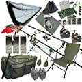 Full Carp Fishing Set up Rods Reels Hair Rigs Bite Alarms Holdall Fishing Chair