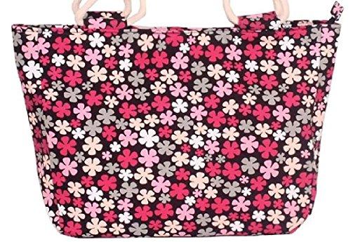 arge Leinwand Helle Strandtaschen Shopper Handtasche - Bold Gelb, Blau, Rosa Rot Violett Grau Braun Grün Schwarz Blumenstreifen Kreise Chevron (Floral Red Pink) (Gelb Chevron)