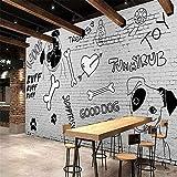 Sucsaistat Tapete Wandbild 3D Restaurant Dekoration Wandbild Handgemalte Hundeknochen Backsteinwand Tapete Bar Pet Shop Wandbild, 400 * 280Cm