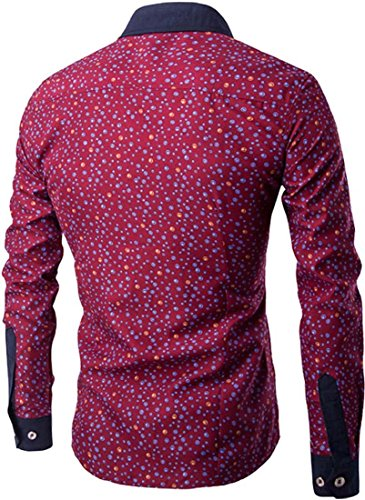 Jeansian Hommes Mode Chemises Casual Manches Longues Men's Leisure Printing Stitching Long Sleeves Slim Dress Shirts Tops 84L1 WineRed