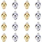 PandaHall Elite 40pcs Componenti per Orecchini in Ottone Clip per l'orecchio, per Orecchie Non perforate, Colore Argento e Or