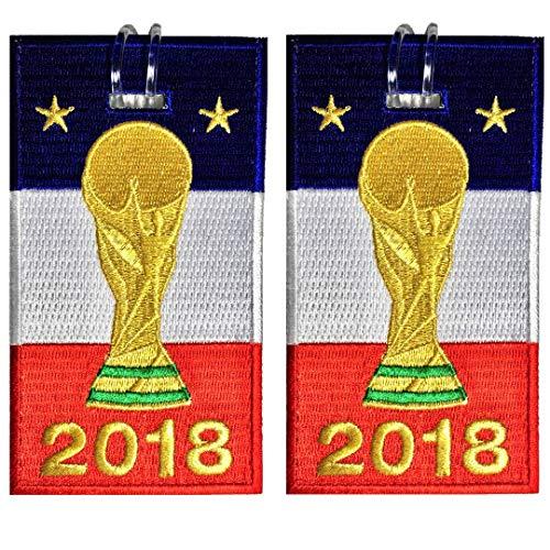 Etiquetas para equipaje, bandera de Francia con copa, bordada, paquete de 2, 6 COLORES, NUNCA DESCANSO!