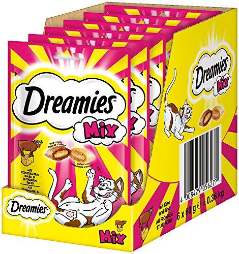 Dreamies Katzensnack Mix mit Käse & Rind, 6er Pack (6 x 60g) -