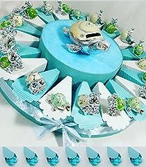 Idea Regalo - (20 bomboniere+salvadanaio tartaruga con confetti) torta bomboniere battesimo maschio animaletti argentati misti con centrale salvadanaio kkk (torta celeste tartaruga )