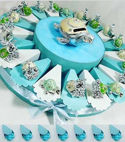 (20 bomboniere+salvadanaio tartaruga con confetti) torta bomboniere battesimo maschio animaletti argentati misti con centrale salvadanaio kkk (torta celeste tartaruga )