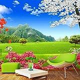 YUANLINGWEI 3D Naturlandschaft Wandbild Blauer Himmel Grüne Wiese Kirschblüte Wandbild Für Wohnzimmer Schlafzimmer Wand Dekor Wandmalereien,170cm (H) X 250cm (W)