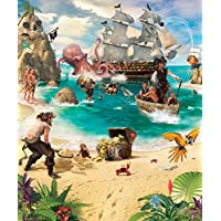 Walltastic 42131 Pirate and Treasure Adventure Wallpaper Mural, Paper, bunt, 12 x 7 x 52,5 cm
