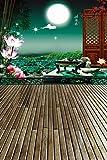 A.Monamour Chinesischen Stil Landschaft Lotusteich Vollmond Fluss Wiedervereinigung 5x7ft Studio Fotohintergründe Vinyl Wand
