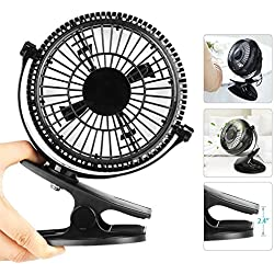 Eastshining Petit Ventilateur USB Ultra Silencieux Portable Ventilateur de Bureau, 2 Vitesses, Rotation de 360 ° Mini Ventilateur de Table à Pince pour Maison, Table, Bureau, Poussette, Camping