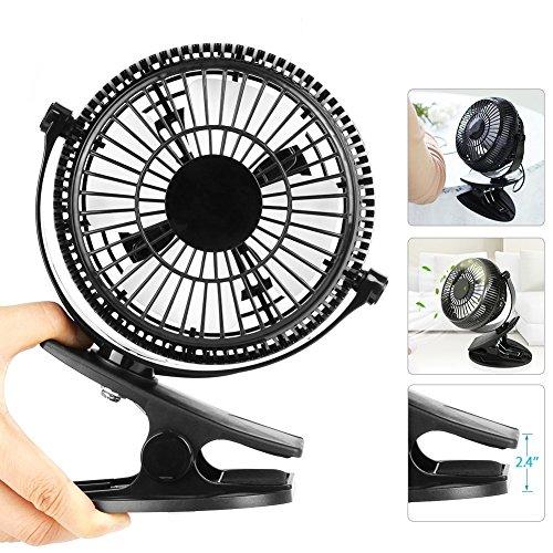 Effektive Schlaf-hilfe (HAUEA leise Ventilator kleiner 360°drehbar Tischventilator mit USB Anschluß und Klemme für Zuhause, Büro und Schreibtisch)
