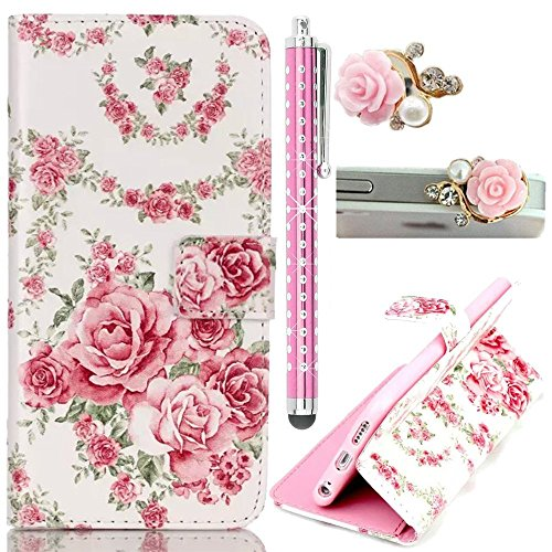 Sunnycase Smart Touch Sensor Quick Window Flip Case Bunte Farbmalerei Serie S View Flip Case PU Leder Wallet Klapphülle Flip Bookstyle Schutz Case PC Rückseite Cover Bumper Hülle Etui for iPhone 6 6S  Love Series 03