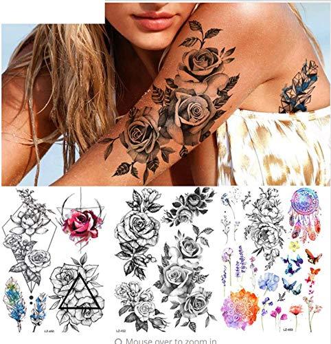 ruofengpuzi Rosen-Blumen-Tätowierungs-Dame Lavender Sweet PEA Tattoo-Körperkunst-Arm-Hals-Dreieck-Tätowierungs-Aufkleber
