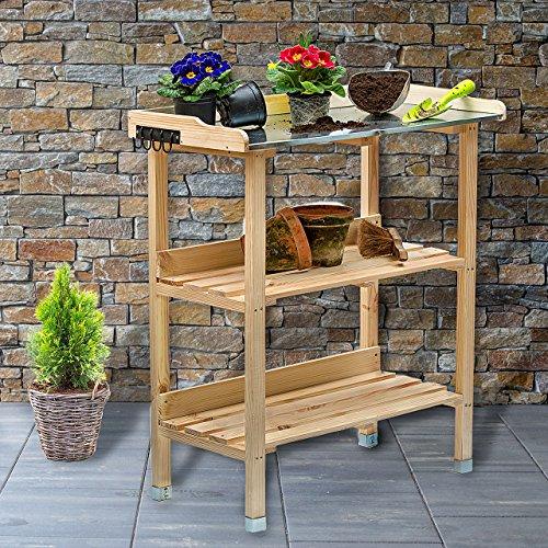 Holz Pflanztisch 76x38x91 cm für Garten Terasse Balkon mit Zinkplatte Gartentisch 2 Ablagen Wetterfest Pflanzregal