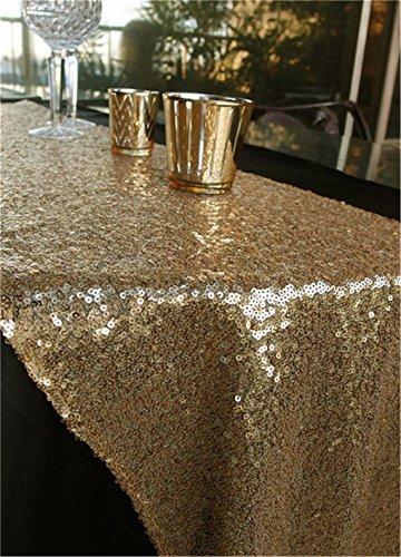 YZEO Tischläufer, Pailletten-Besatz, ideal für Hochzeitsfeiern und andere Veranstaltungen, Heimdekoration, 33 cm x 183 cm, Sonstige, gold, 13
