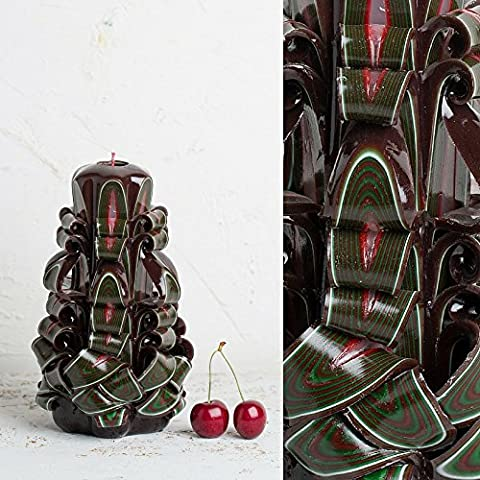 Hand Crafted Decorative Candle - Carved and Sculptured Green Red White Brown Stripes - EveCandles