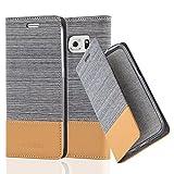 Cadorabo Hülle für Samsung Galaxy S6 Edge - Hülle in HELL GRAU BRAUN - Handyhülle mit Standfunktion & Kartenfach im Stoff Design - Case Cover Schutzhülle Etui Tasche Book