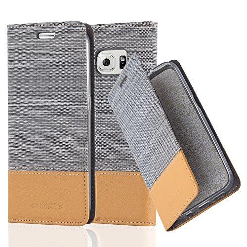 Preisvergleich Produktbild Cadorabo Hülle für Samsung Galaxy S6 Edge - Hülle in HELL GRAU BRAUN – Handyhülle mit Standfunktion und Kartenfach im Stoff Design - Case Cover Schutzhülle Etui Tasche Book