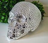 Spardose Totenkopf Schädel Skull Chrom-Optik Keramik Spartopf Trinkgeld Kasse Kaffeekasse Tischdeko Halloween Sparschwe