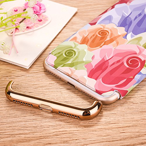 "iPhone 7 Schutzhülle, CLTPY Luminous Feature Case Slim Fit iPhone 7 Hartplastik Abdeckung mit Gold Plating Removable Frame für 4.7"" Apple iPhone 7 + 1 x Stift - Gemalte Graffiti 2 Bunte Narzissen"