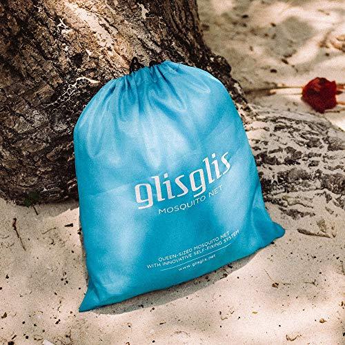 GlisGlis Blue Cube - XL Moskitonetz in Würfelform, bereits imprägniert für tropische Gebiete mit Malaria, Gummizug im Boden, Eingang mit sicherem Reißverschluss | Mückennetz, Doppelbett, 200x200x200cm