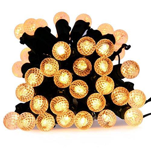lederTEK brillante super con pilas luces de hadas de Cuerda en 50 LED 4M con temporizador automático y 8 modos de iluminación, impermeable lámparas decorativas de Navidad para Externo, Jardín, Hogar, Boda, Árbol de Navidad Fiesta de Año Nuevo (50 LED G12 Blanco Cálido)