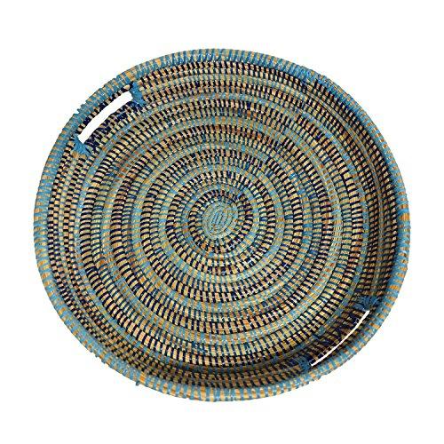 EA Déco Naturel & Design ABFTBLE Tchèkè Plateau Plastique/Paille Tricolore Bleu 40 x 40 x 7 cm