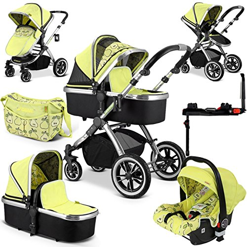 iVogue Pear Luxury 3in1 Pram Stroller Travel System Changing Bag Car Seat + ISOFIX Base) 61i4VrKYhzL