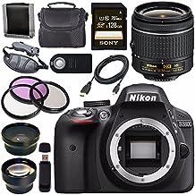 Nikon D3300 DSLR Camera With AF-P 18-55mm VR Lens (Black) + Sony 128GB SDXC Card + Carrying Case Bundle