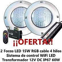 Oferta 2 Focos LED RGB con cable de 4 hilos para Piscina con Control Remoto externo WiFi y transformador 12V DC 60W