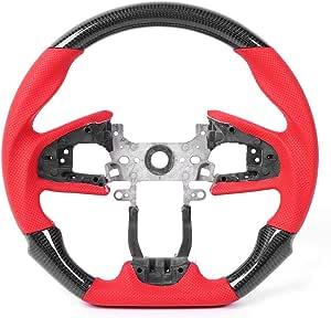 Kimiss Carbon Lenkrad Drift Lenkrad Vorforiertes Leder Mit Roten Nähten Passend Für Fc Fk8 Typ R 2016 2020 Schwarz Auto